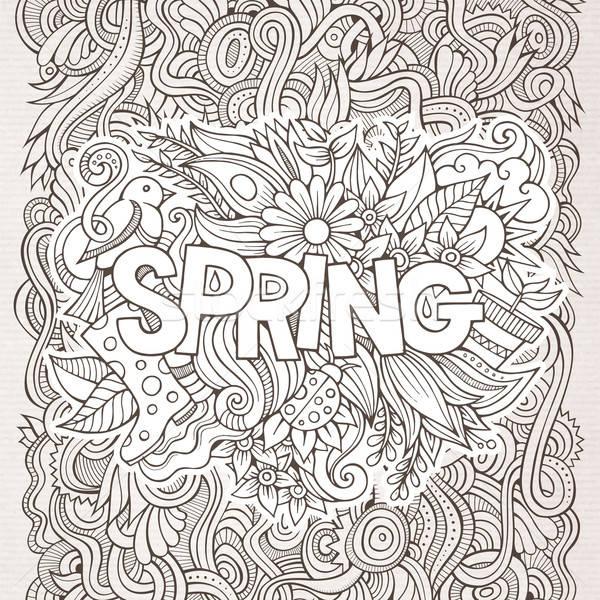 Primavera mano scarabocchi elementi fiore abstract Foto d'archivio © balabolka