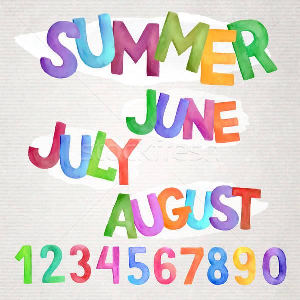 Summer season watercolor names Stock photo © balabolka