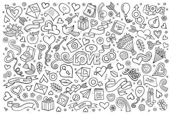 Stock photo: Sketchy vector hand drawn doodles cartoon set of Love