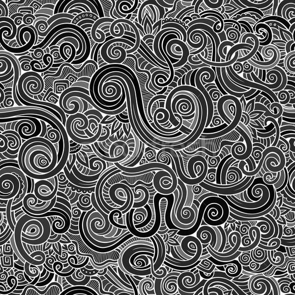 Decorative hand drawn doodle nature ornamental curl pattern Stock photo © balabolka