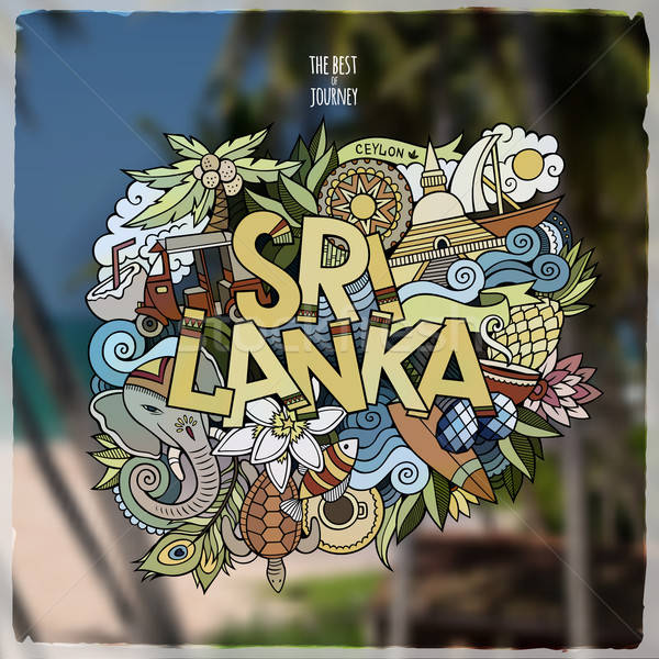 Sri Lanka strony bazgroły elementy godło wektora Zdjęcia stock © balabolka