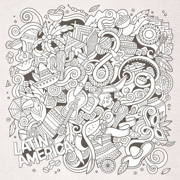 Cartoon hand-drawn doodles Latin American illustration. Line art Stock photo © balabolka