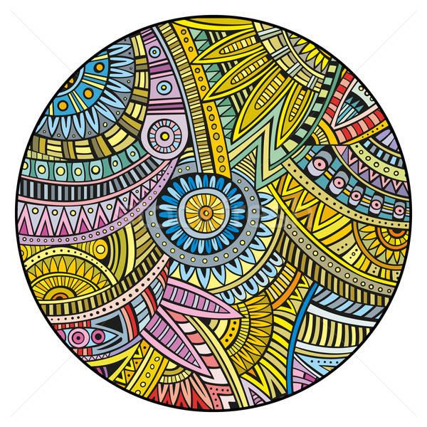 Vektor kisebbségi kör absztrakt dekoratív kézzel rajzolt Stock fotó © balabolka