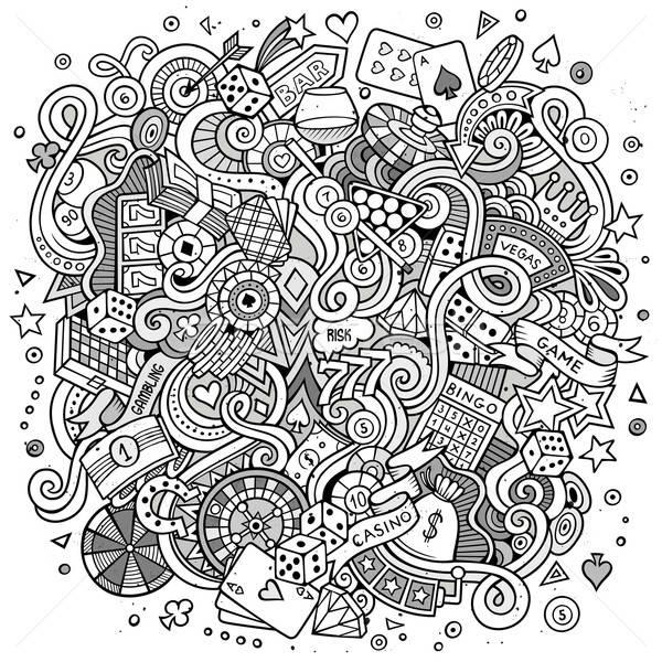 Cartoon казино игорный иллюстрация линия Сток-фото © balabolka