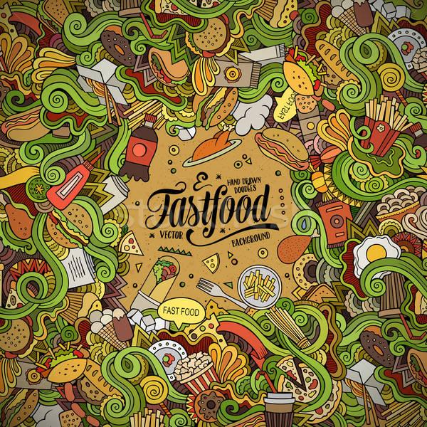 Karikatur Kritzeleien Fast-Food Rahmen Design cute Stock foto © balabolka