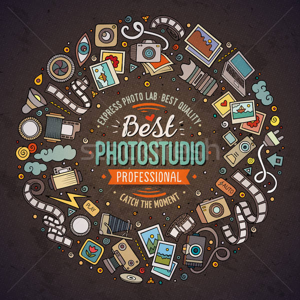 Conjunto foto estúdio desenho animado rabisco objetos Foto stock © balabolka