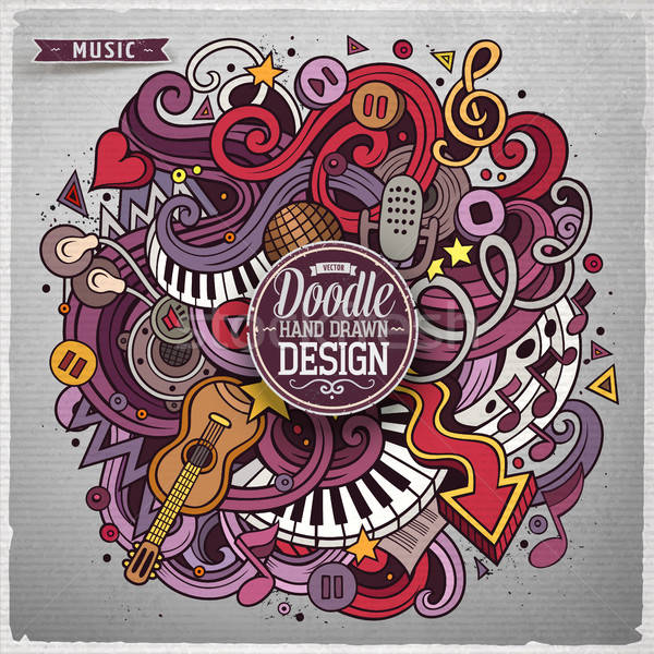 Cartoon cute doodles hand drawn Music illustration Stock photo © balabolka