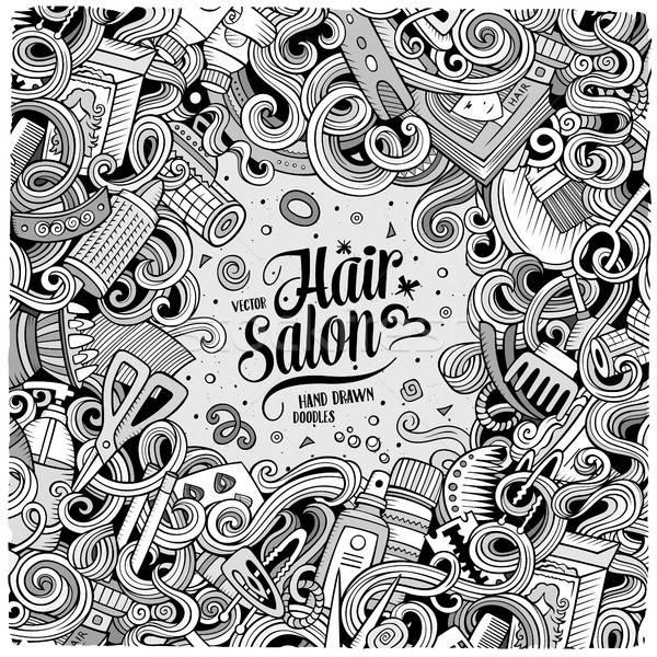 Karikatür sevimli karalamalar kuaför çerçeve dizayn Stok fotoğraf © balabolka