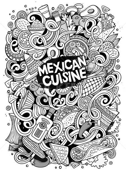 Cartoon cute garabatos comida mexicana ilustración dibujado a mano Foto stock © balabolka