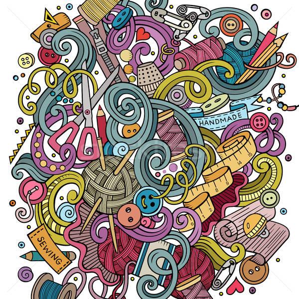 Cartoon cute doodles hand drawn Handmade illustration Stock photo © balabolka