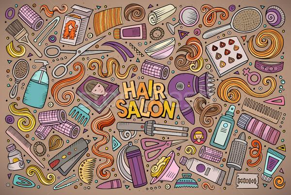 Vector cartoon set of Hair salon theme objects Stock photo © balabolka
