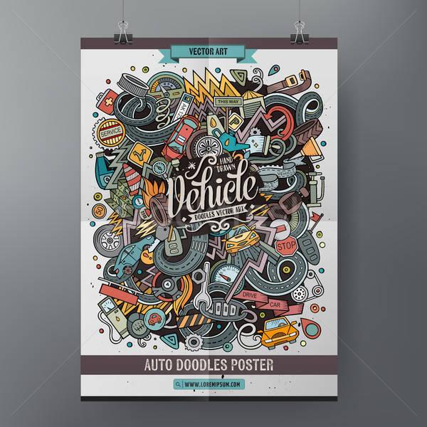 Cartoon bazgroły pojazd plakat kolorowy Zdjęcia stock © balabolka
