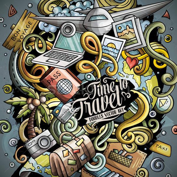 Cartoon vector doodles Travel illustration Stock photo © balabolka