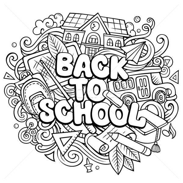 Rajz aranyos firkák vissza az iskolába kifejezés vonal Stock fotó © balabolka