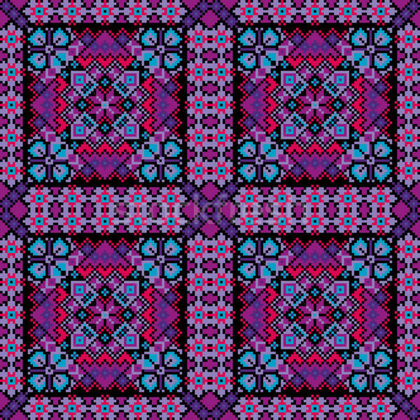 Ethnic mosaic ornamental background vector Stock photo © balabolka