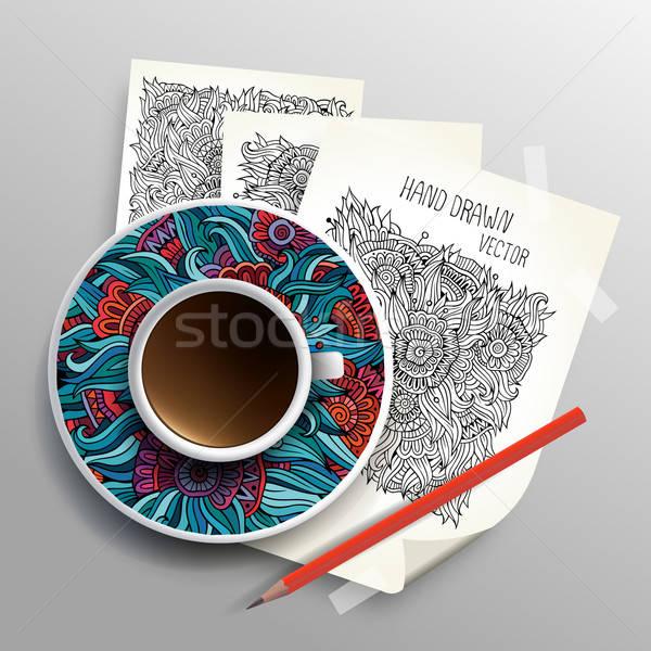 Coffee cup on sketches concept idea Stock photo © balabolka