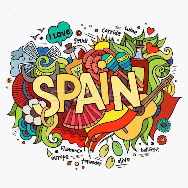 İspanya el karalamalar elemanları kadın müzik Stok fotoğraf © balabolka