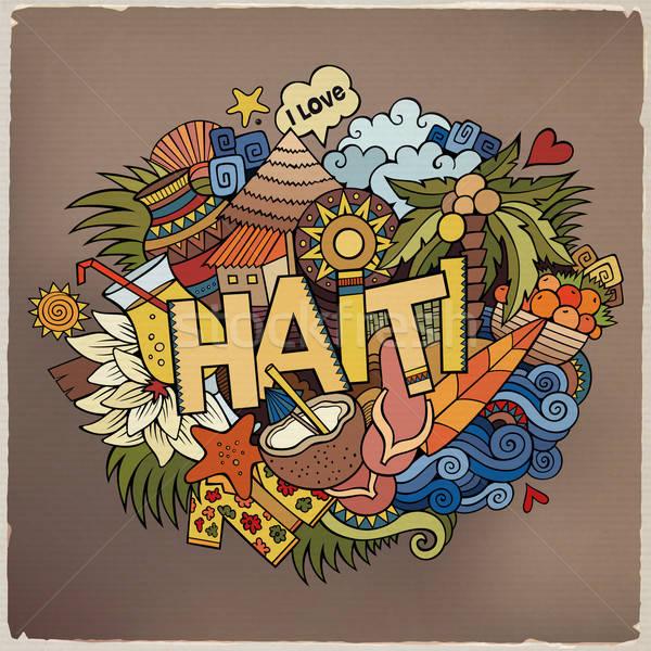 Haiti el karalamalar elemanları semboller vektör Stok fotoğraf © balabolka