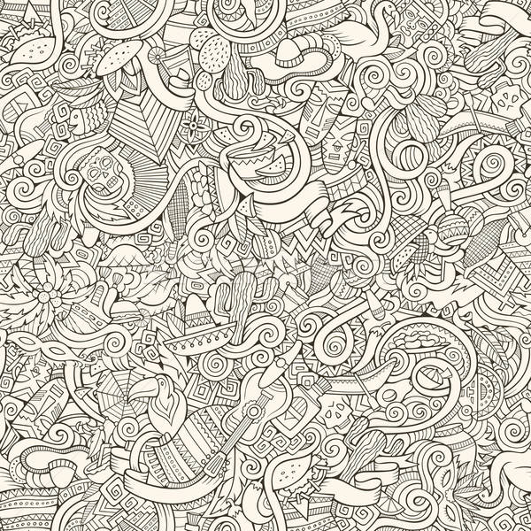 Cartoon hand-drawn doodles on the subject Latin American style Stock photo © balabolka