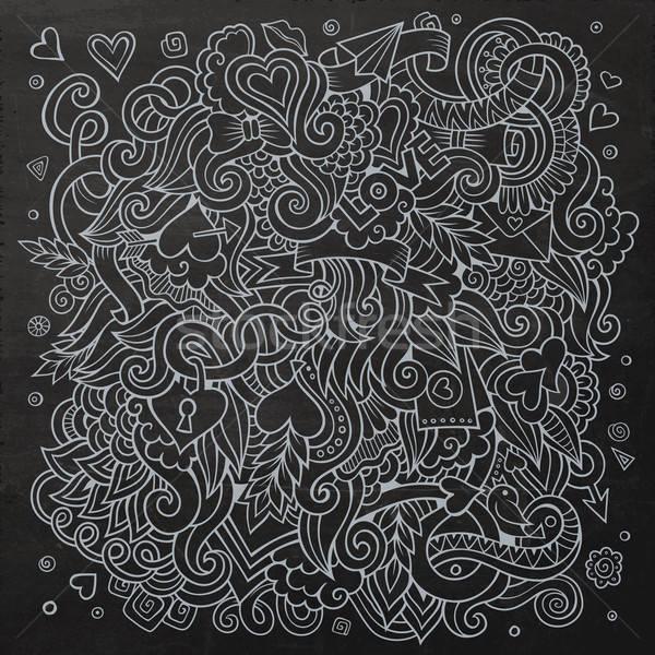 Stockfoto: Cartoon · vector · liefde · schoolbord · ontwerp