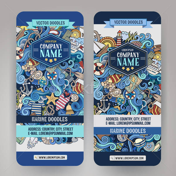 Cartoon line art vector hand-drawn marine nautical banners Stock photo © balabolka