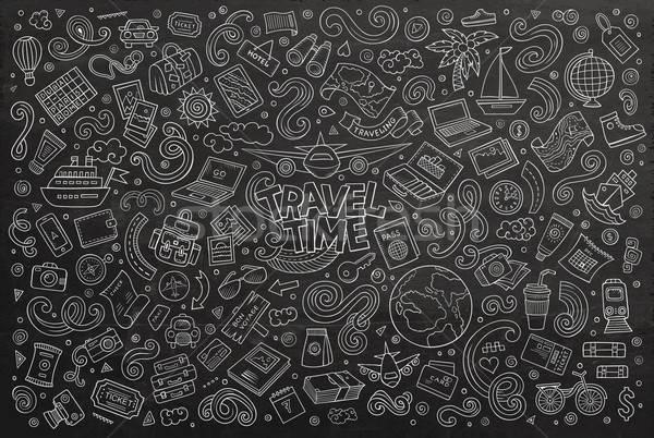 Vector doodle cartoon ingesteld reizen schoolbord Stockfoto © balabolka