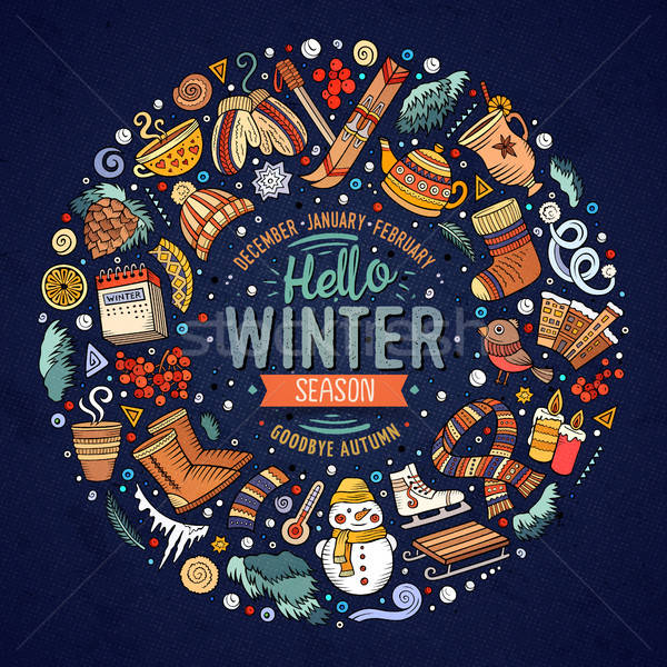 Set of Winter cartoon doodle objects, symbols and items Stock photo © balabolka