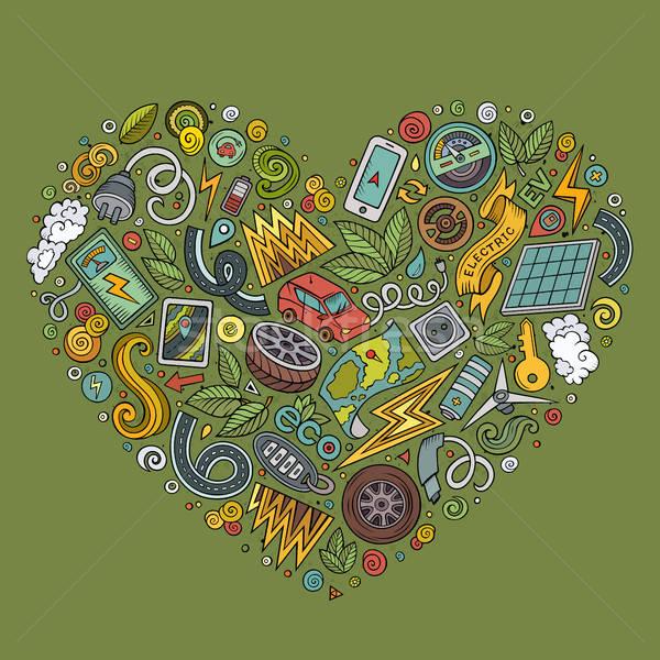 Vector hand drawn set of Eco cars doodle objects Stock photo © balabolka