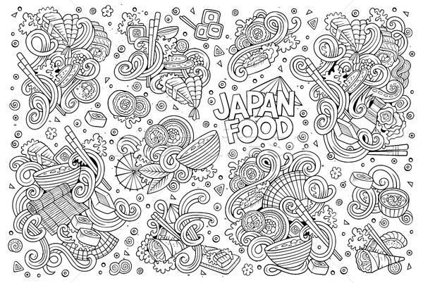 Vecteur doodle Japon alimentaire objets Photo stock © balabolka