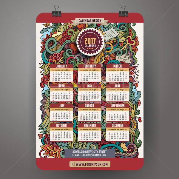 Cartoon любви календаря год дизайна Сток-фото © balabolka