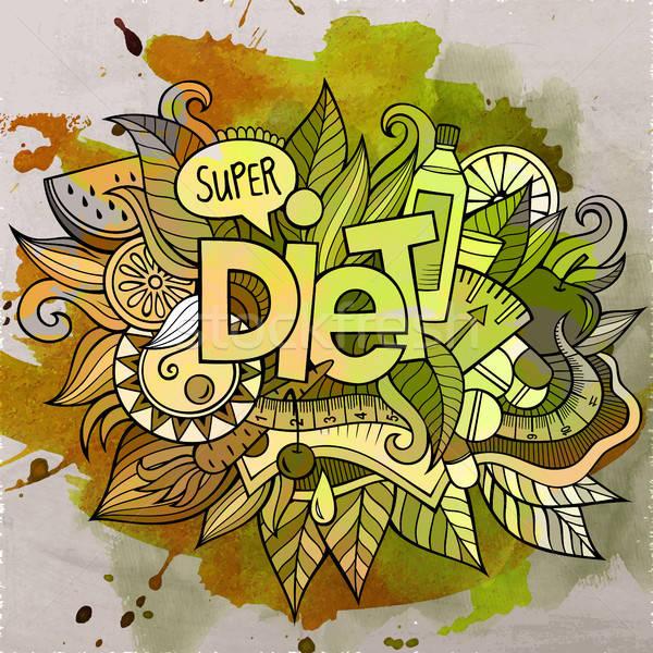 Cartoon cute doodles hand drawn Diet inscription Stock photo © balabolka