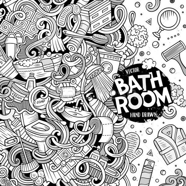 Cartoon doodles Bathroom frame Stock photo © balabolka
