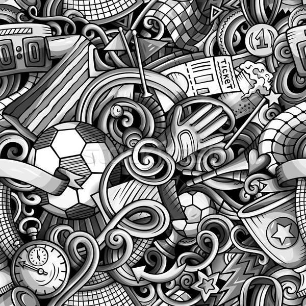 Cartoon doodles Football seamless pattern Stock photo © balabolka