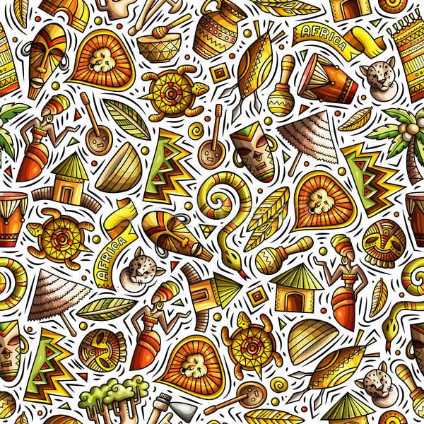 Cartoon cute hand drawn African seamless pattern Stock photo © balabolka