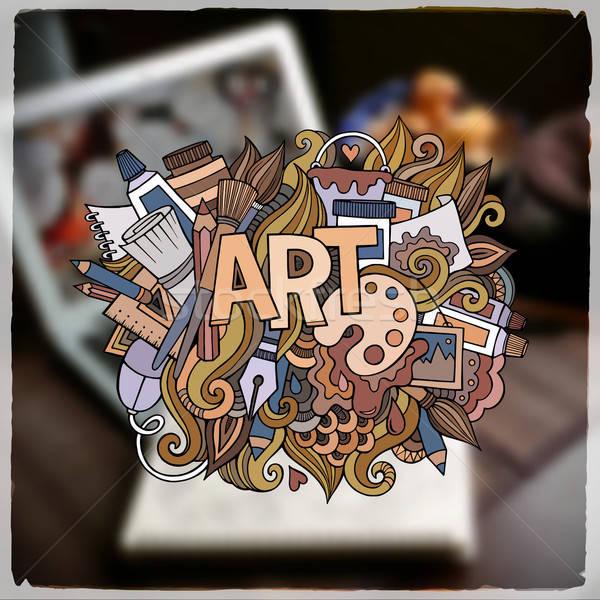 Művészet kéz firkák elemek vektor szeretet Stock fotó © balabolka