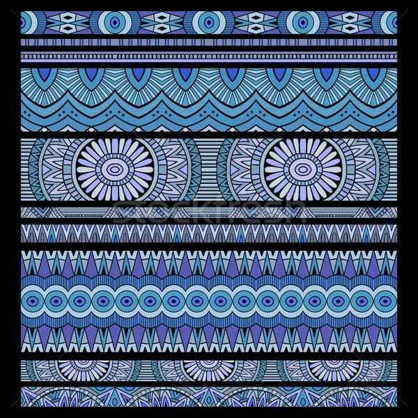 ethnic seamless stripes background set Stock photo © balabolka