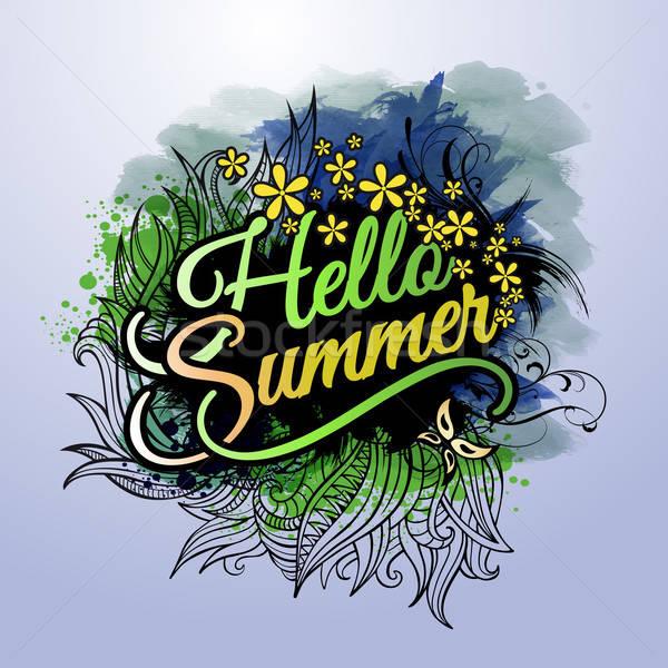 'Hello Summer' paint inscription Stock photo © balabolka