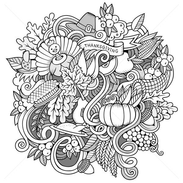 Cartoon vector hand-drawn Doodle Thanksgiving. Sketchy design Stock photo © balabolka