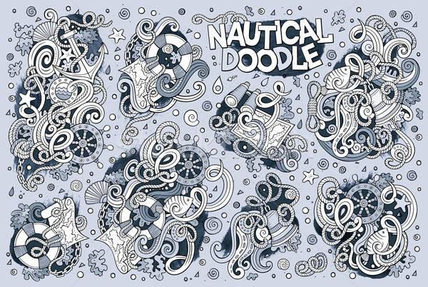 Szett tengeri tengerészeti tárgyak szimbólumok vonal Stock fotó © balabolka