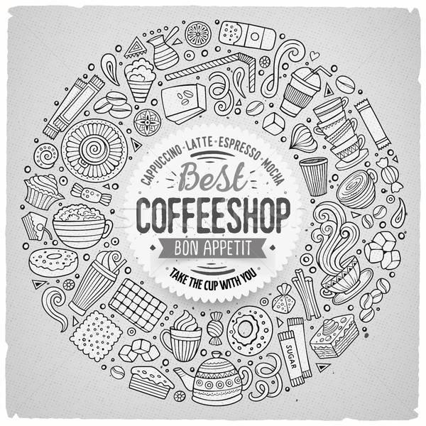 Conjunto café desenho animado rabisco objetos símbolos Foto stock © balabolka