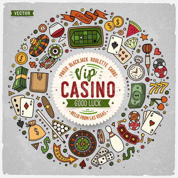Set of Casino cartoon doodle objects, symbols and items Stock photo © balabolka