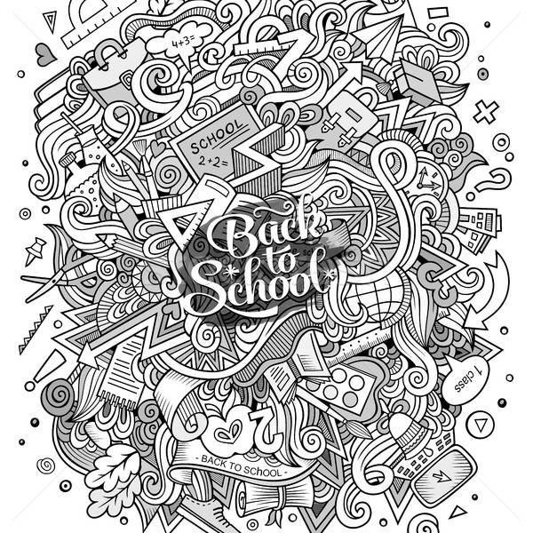 Karikatur Kritzeleien Hand gezeichnet Schule Illustration cute Stock foto © balabolka