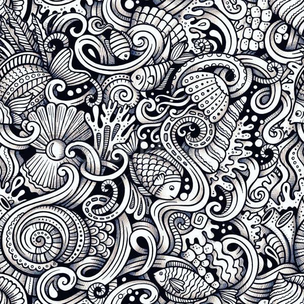 Cartoon hand drawn under water life doodles seamless pattern Stock photo © balabolka