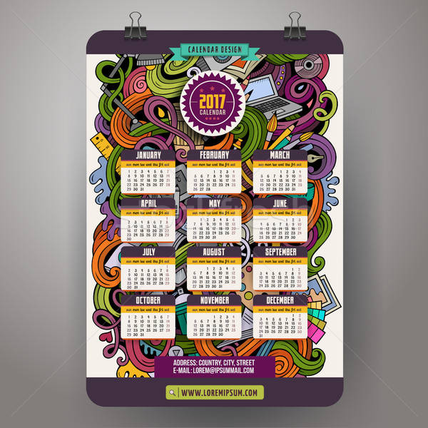 Cartoon doodles Designer 2017 year calendar template Stock photo © balabolka