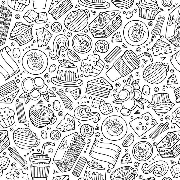 Stock photo: Cartoon cute hand drawn Italian food seamless pattern.