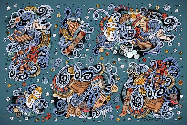 Karikatür ayarlamak kış sezonu karalamalar tasarımlar renkli Stok fotoğraf © balabolka