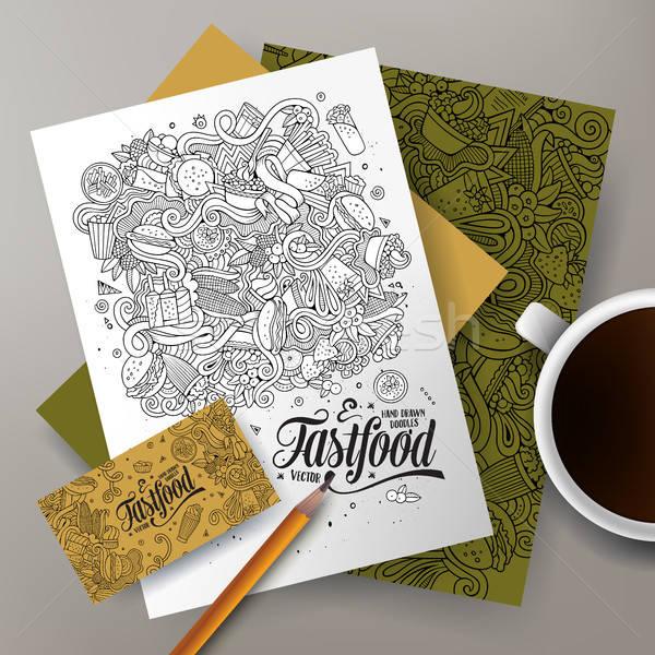 Cartoon cute vector doodles Fastfood corporate identity set Stock photo © balabolka