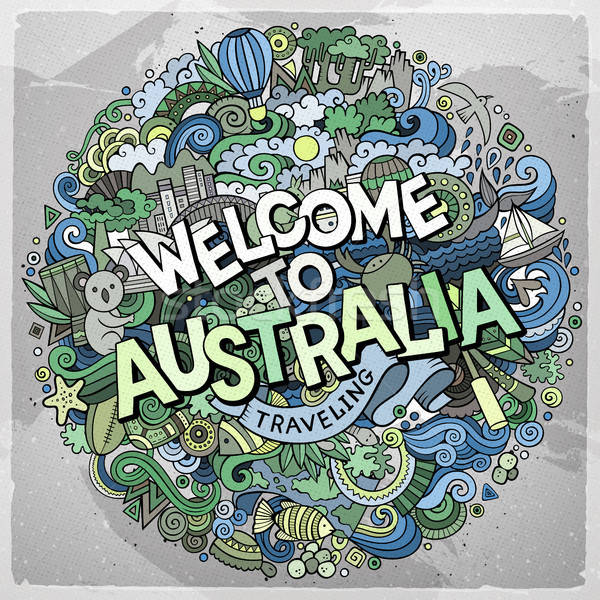 Rajz aranyos firkák kézzel rajzolt üdvözlet Ausztrália Stock fotó © balabolka