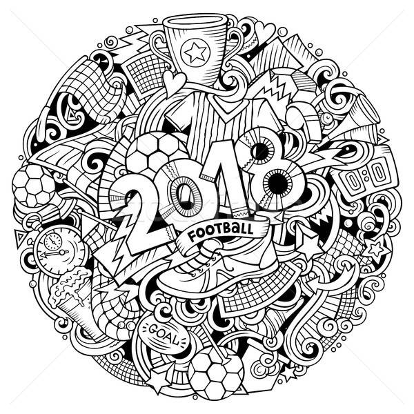 Cartoon cute doodles hand drawn 2018 Football illustration Stock photo © balabolka