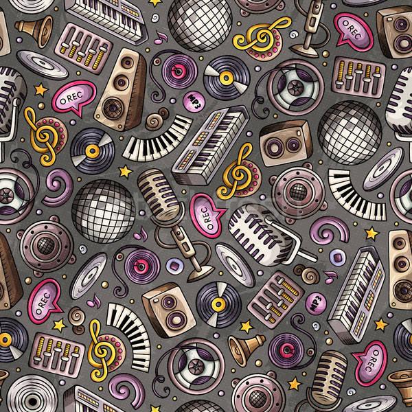 Stock photo: Cartoon hand-drawn Disco music seamless pattern